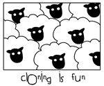 This Dolly the sheep - cloning is fun design features several identical sheep in eye-catching black and white. It makes a cool geek gift for a scientist or molecular biologist who likes fun and unique science clothing!