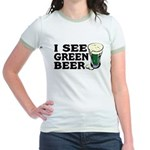 I See Green Beer St Pat's Jr. Ringer T-Shirt