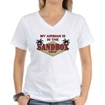 My Airman is in the Sandbox - Women's V-Neck T-Shi