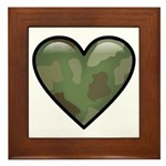 Love Military Cammo Heart Framed Tile