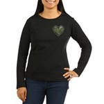 Love Military Cammo Heart Women's Long Sleeve Dark