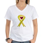 I love my Sailor - Yellow Rib Women's V-Neck T-Shi