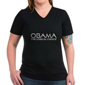 Logical Obama Women's V-Neck Dark T-Shirt