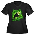 Save the Rainforest Women's Plus Size V-Neck Dark T-Shirt