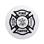 Fire Fighter Christmas Ornament (Round)