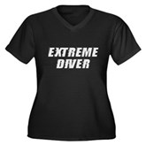 Extreme Diver Women's Plus Size V-Neck Dark T-Shir