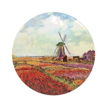 Tulips of Holland by Monet Round Ornament