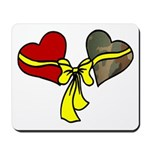 2 Hearts Military Yellow Ribbon Mousepad