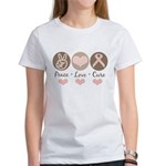 Peace Love Cure Pink Ribbon Women's T-Shirt