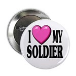 "I Love (pink heart) My Soldier 2.25"" Button (10 pa"