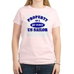Property of a US Sailor - GO NAVY Women's Pink T-S