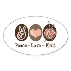 Knit Knitting Gift T shirts More Sticker (Oval)
