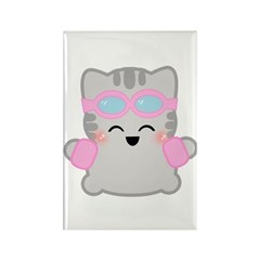 Summer Time Neko Rectangle Magnet