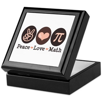 Peace Love Math Pi Keepsake Box