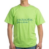 1,2,3,4,DIVE! Green T-Shirt