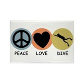 Peace Love Dive Rectangle Magnet