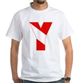Scuba Flag Letter Y White T-Shirt