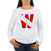 Scuba Flag Letter W Women's Long Sleeve T-Shirt