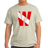 Scuba Flag Letter W Light T-Shirt
