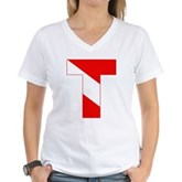 Scuba Flag Letter T Women's V-Neck T-Shirt