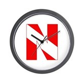 Scuba Flag Letter N Wall Clock