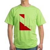 Scuba Flag Letter L Green T-Shirt