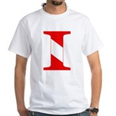 Scuba Flag Letter I White T-Shirt