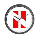 Scuba Flag Letter H Wall Clock