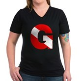 Scuba Flag Letter G Women's V-Neck Dark T-Shirt