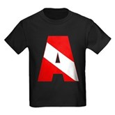 Scuba Flag Letter A Kids Dark T-Shirt
