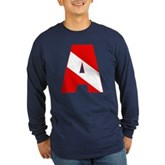 Scuba Flag Letter A Long Sleeve Dark T-Shirt