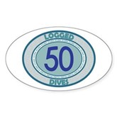 50 Logged Dives Oval Sticker