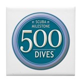 500 Dives Milestone Tile Coaster