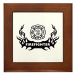 Fire Dept Tattoos Framed Tile