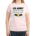 Army My Fiance is defending . Women's Pink T-Shirt