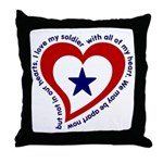 Heart Service Flag - Soldier Throw Pillow