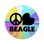 Peace Love Beagle Ornament