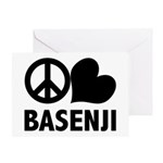 Peace Love Basenji Greeting Cards