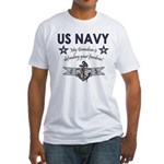 Navy Grandson defending Fitted T-Shirt