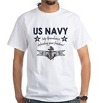 Navy Grandson defending White T-Shirt