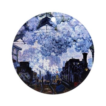 Station Saint Lazare by Monet Round Ornament
