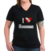  Scuba: I Love Honduras Women's V-Neck Dark T-Shirt
