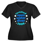 Open Water Diver 2008 Women's Plus Size V-Neck Dar