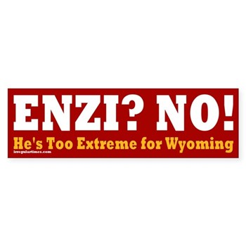 Mike Enzi? No!  Enzi is too extreme for the U.S. Senate (Wyoming Anti-Enzi bumper sticker)