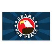 Obama For Peace Rectangle Sticker