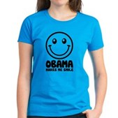 Obama Makes Me Smile Women's Dark T-Shirt