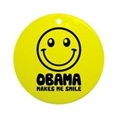 Obama Makes Me Smile Ornament (Round)