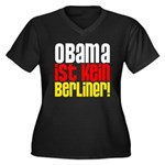 Obama Ist Kein Berliner! Women's Plus Size V-Neck Dark T-Shirt