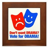 Vote Obama: No Drama! Framed Tile