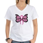 Breast Cancer Butterfly Women's V-Neck T-Shirt